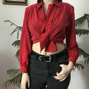 ❤️ vintage red paisley print button up top ❤️